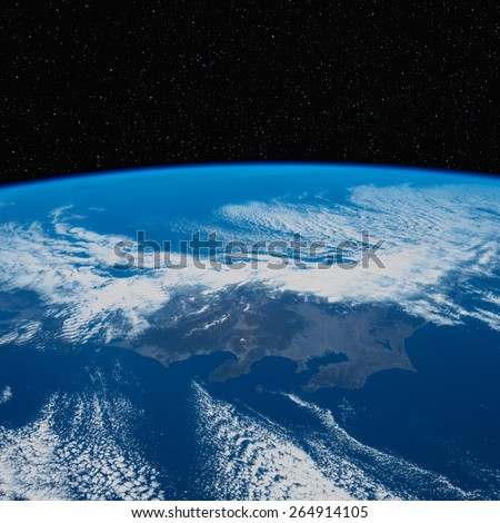 Japan (Tokyo area) from space with stars above. Elements of this image furnished by NASA.  - stock photo