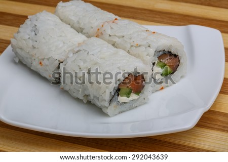 Japan traditional sushi - tuna roll with nori and cheese