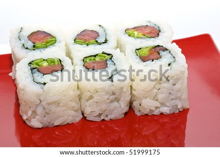 japan trditional food isolated - rolls - stock photo
