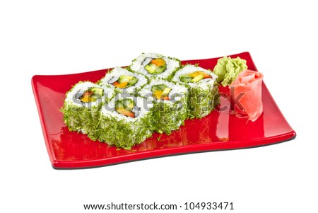 japan vegetarian roll with dill and vegetables