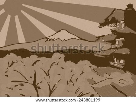 Japan vintage sketch - stock photo