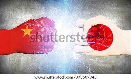 Japan vs China - stock photo