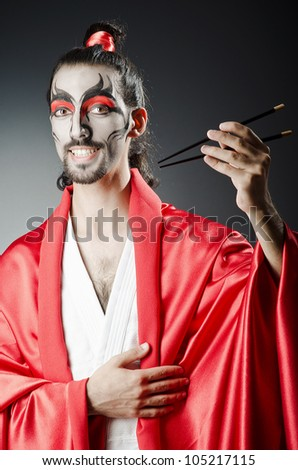 Japanese actor with chopsticks