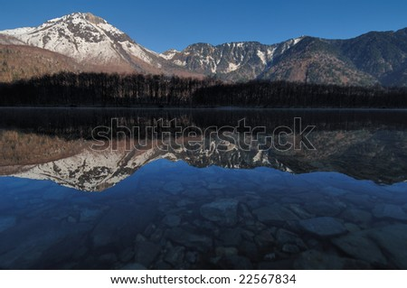 Japanese Alpine Mt. Hotaka mountain range and the virtual image that were reflected in the surface of a lake