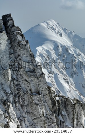 Japanese Alps ridgeline of the snow territory - stock photo