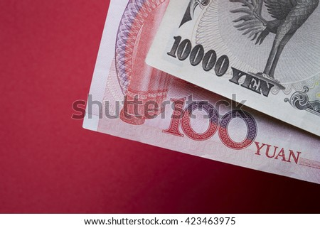 Japanese and Chinese banknotes