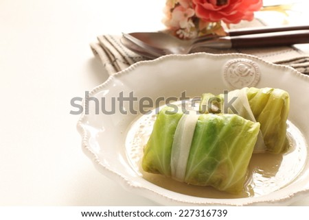 Japanese and Russian fusion food, stuffed cabbage  - stock photo