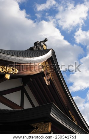 Japanese architecture of temple roof - stock photo