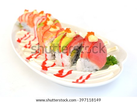 Japanese assorted fish roll maki sushi with sauce, hana flower roll  - stock photo