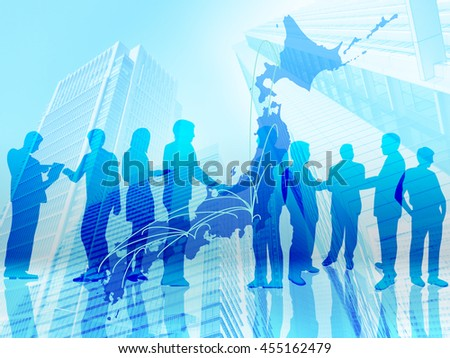 japanese building businessman background blue