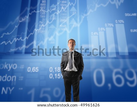 Japanese businessman with exchange statistics on the background - stock photo