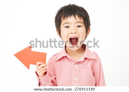 Japanese children pointing side - stock photo