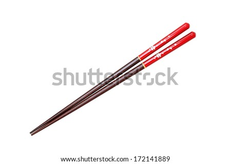 Japanese chopstick, cherry blossom flower pattern, on white background - stock photo