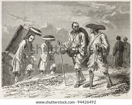Japanese civilian, colporters and pilgrims old illustration. Created by Neuville after Japanese sketches of unknown author, published on Le Tour du Monde, Paris, 1867