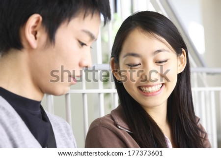 Japanese College students talking - stock photo