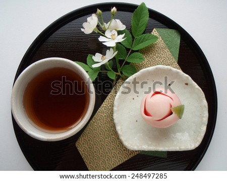 "Japanese confection "" WAGASHI Japanese teaRose - stock photo"