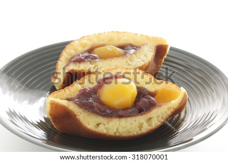 Japanese confectionery, Chestnut and red bean paste Pancake Dorayaki - stock photo
