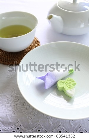 Japanese confectionery, dried wagashi with green tea