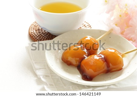 Japanese confectionery, Mitarashi Dango and green tea