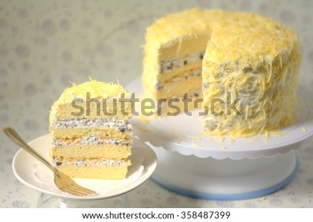 Japanese Cotton Cheesecake layer grated cheese on top - stock photo