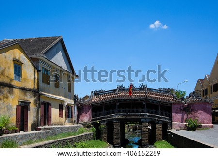 Japanese covered bridge   - stock photo