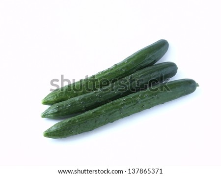 Japanese cucumber isolated on white background - stock photo
