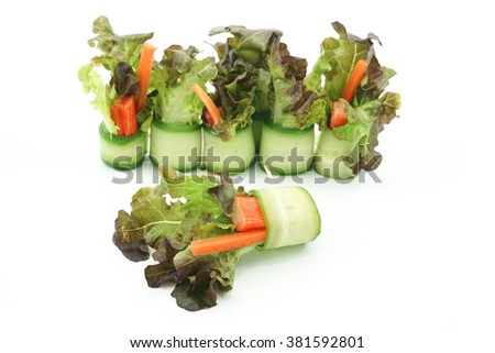 Japanese Cucumber Salad Roll Isolated, Focus Selection