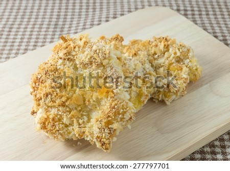 Japanese Cuisine and Food, Delicious Fried Pork Cutlet or Tonkatsu on A Wooden Plated. - stock photo