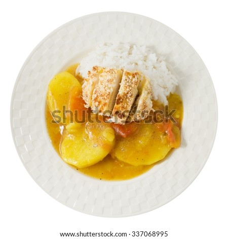 Japanese Cuisine and Food, Top View of Deep Fried Pork Cutlet or Tonkatsu Served with Steamed Rice and Curry Sauce Isolated on White Background. - stock photo