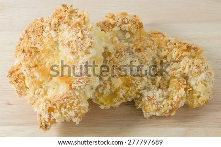 Japanese Cuisine and Food, Traditional Deep Fried Pork Cutlet or Tonkatsu on A Wooden Plated. - stock photo