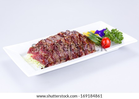 japanese cuisine beef on white background