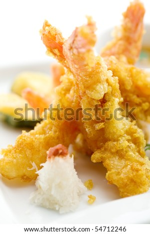 Japanese Cuisine - Deep Fried Shrimps with Vegetables - stock photo
