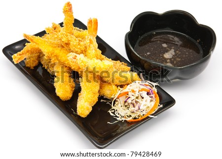 Japanese Cuisine - Deep Fried Shrimps with Vegetables in the plate - stock photo