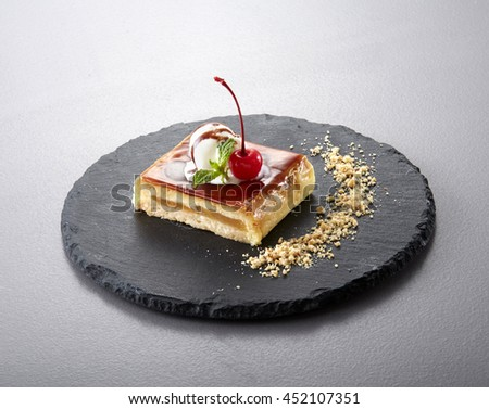 Japanese cuisine food,Slice of cheesecake with cherry jam