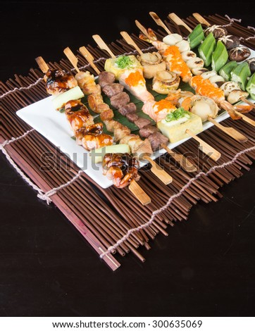 japanese cuisine. grill stick on background