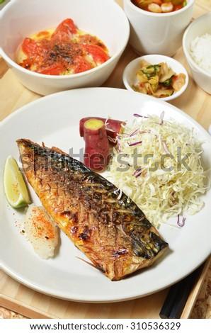 Japanese cuisine, Mackerel fish meal       - stock photo