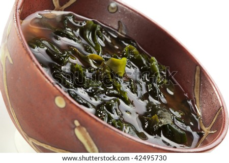 Japanese Cuisine - Miso Soup with Seaweed and Fried Sesame
