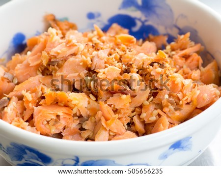 Japanese cuisine, salmon flakes in the bowl