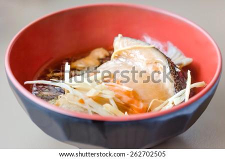 Japanese Cuisine - Salmon Kabutoni , fish with sweet sauce - stock photo