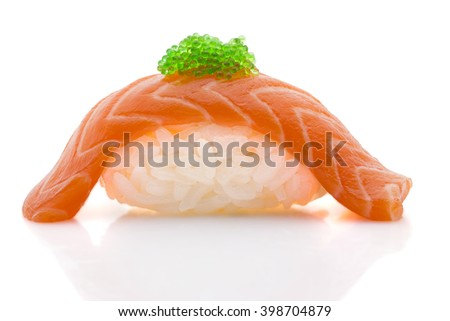 Japanese cuisine. Salmon sushi nigiri with red caviar ( tobiko ) isolated on white background.