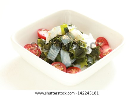 japanese cuisine, seaweed and Konyaku with oil free sesame dressing for diet food image
