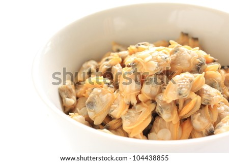 Japanese cuisine, steamed clam on white bowl
