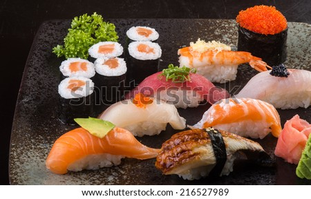 japanese cuisine. sushi on background - stock photo