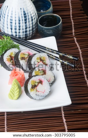japanese cuisine. sushi on background