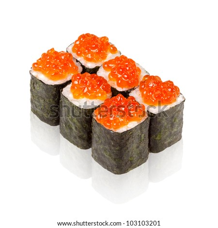 Japanese cuisine. sushi with caviar on white background