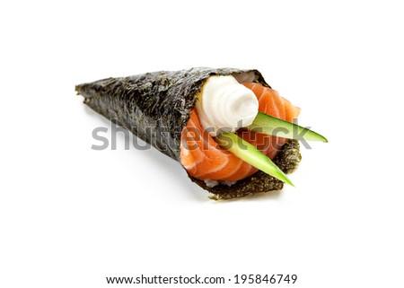 Japanese cuisine. Temaki sushi on a white background - stock photo