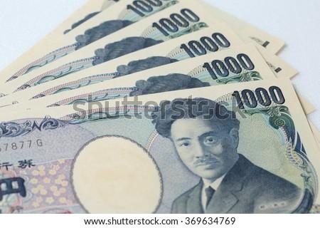 Japanese currency notes , Japanese Yen,1000 yen - stock photo
