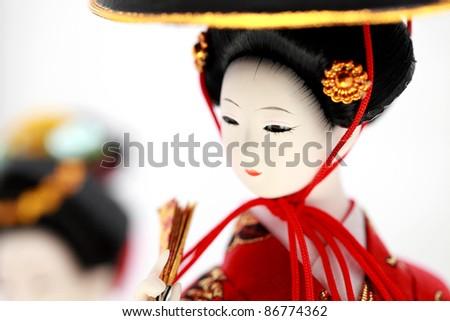 Japanese Doll white isolated - stock photo