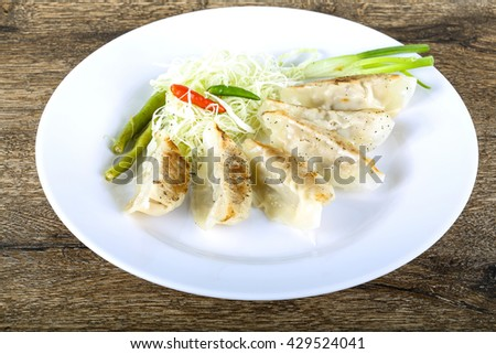 Japanese dumplings with herbs and spices - stock photo