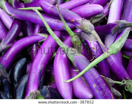 Japanese eggplant at a farmers' market - stock photo